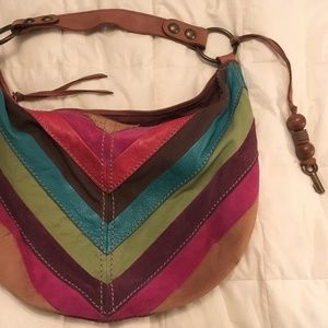 Leather Patchwork Hobo Bag Fossil